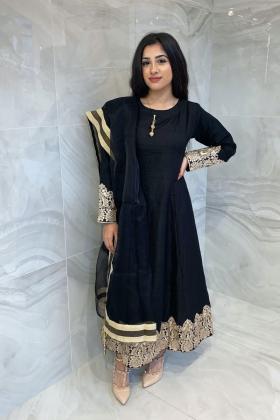 3 Piece casual long peplum dress in black