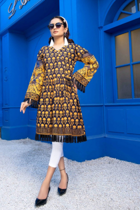 Block printed beautiful lawn kurta in navy