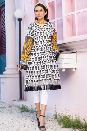 Block printed beautiful lawn kurta in white
