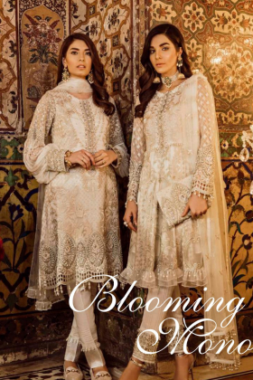 3 Piece luxury embroidered blooming mono suit in cream