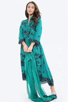 3 Piece linen sequence embroidered suit in green