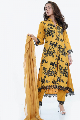 Mustard 3 piece sequence embroidered linen suit
