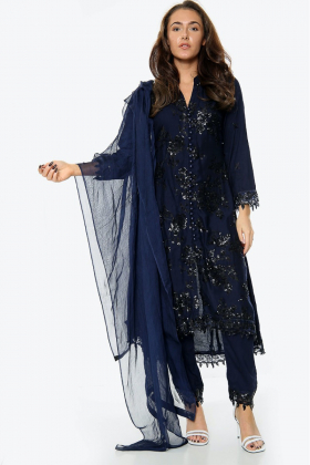3 Piece linen sequence embroidered suit in navy