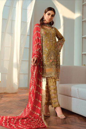 Three piece luxury chiffon embroidered suit in green
