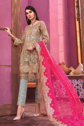 Three piece luxury embroidered suit in mint