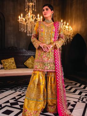 3 Piece heavy embroidered mustard garara suit