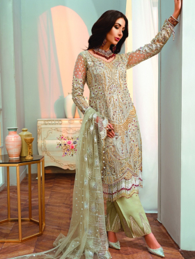 Three piece heavy embroidered chiffon suit in mint