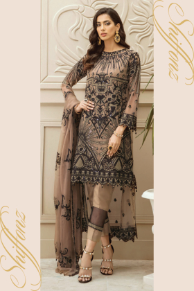 Three piece embroidered chiffon suit in brown