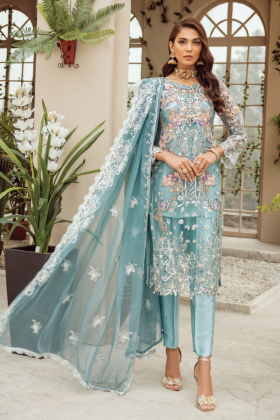 Three piece luxury net embroidered suit in sky blue