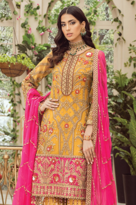 3 Piece luxury embroidered mustard outfit