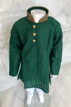 Kids boys 2 piece green chicken suit with a gold embroidered collar