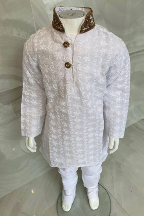 Kids boys 2 piece white chicken suit with a gold embroidered collar