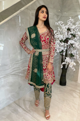 3 Piece luxury embroidered long back tail suit in pink and green