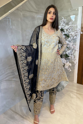 3 Piece luxury embroidered long back tail suit in sky blue and navy