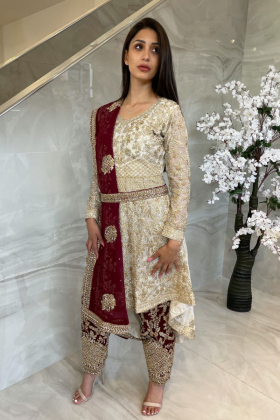 3 Piece luxury embroidered long back tail suit in white and maroon