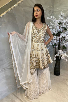 3 Piece luxury embroidered gharara suit in white and gold