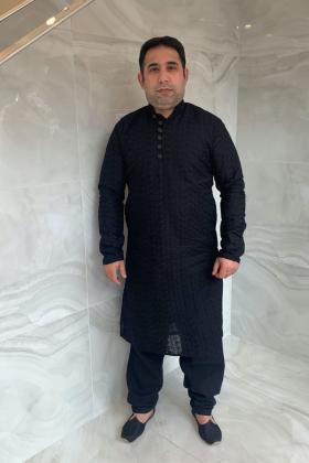 Men's 2 piece chicken shalwar kameez in black