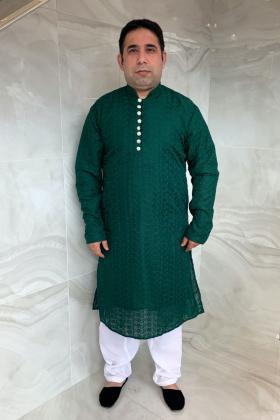 Men's 2 piece chicken shalwar kameez in dark green