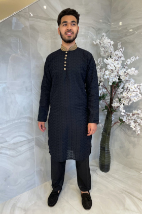 Black men's chicken suit with gold embroidered collar