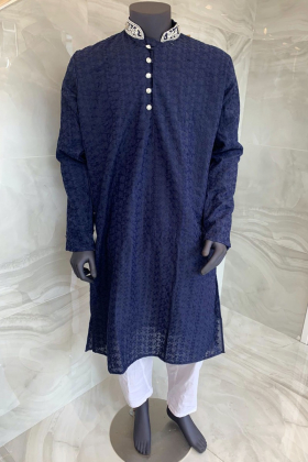 Men's 2 piece navy chicken suit with a silver button embellishments