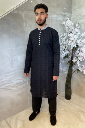 Men's 2 piece black chicken suit with silver embroidered collar
