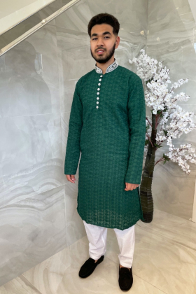Men's 2 piece green chicken suit with silver button embellishments