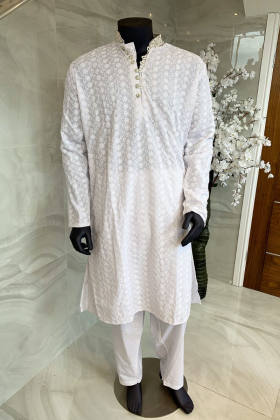 Men's 2 piece white chicken suit with silver button embellishments