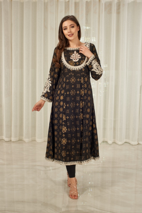Beautiful black embroidered lawn kurta