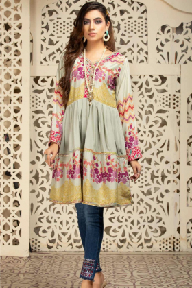 Lawn peplum embroidered kurta in mint