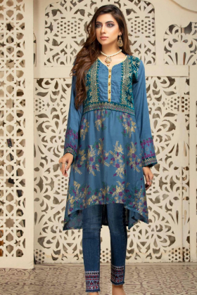 Embroidered peplum kurta in turquoise