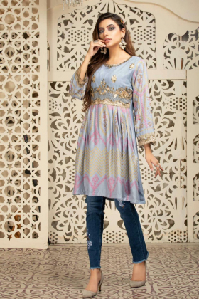 Lawn peplum embroidered kurta in grey