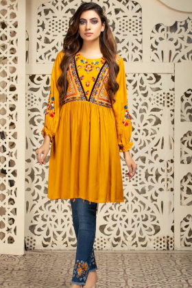 Lawn peplum embroidered kurta in mustard