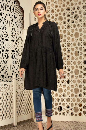 Lawn mirror embellished kurta in black