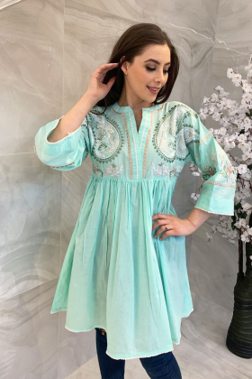 Peplum style lawn printed kurta in light green