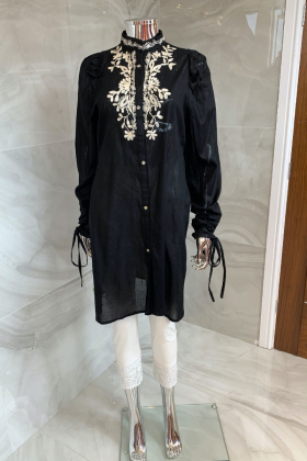 Casual lawn embroidered kurta in black