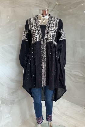 Casual luxury lawn black embroidered kurti