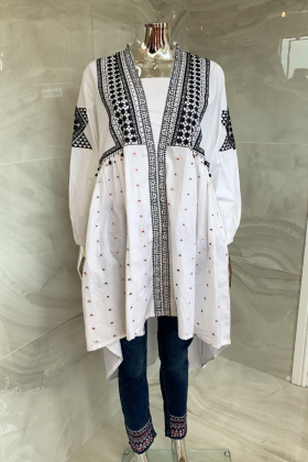 Casual luxury lawn white and black embroidered kurti
