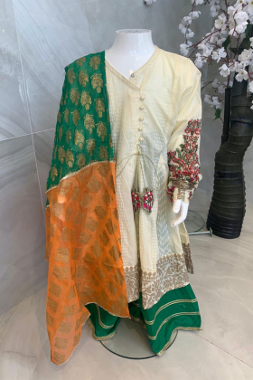 Kids 3 piece angrakha style suit in cream and green