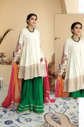 3 Piece angrakha style cream and green garara suit