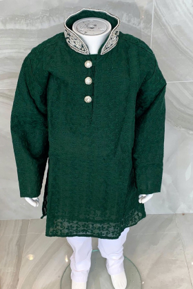 Kids boys 2 piece green chicken suit with a silver embroidered collar