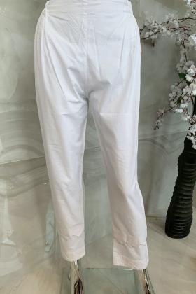 Plain off-white straight leg lawn trousers