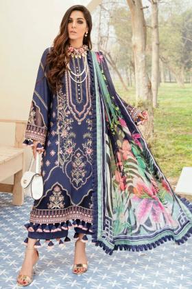 Afrozeh summer sonnet lawn divine florals 3 piece suit in navy