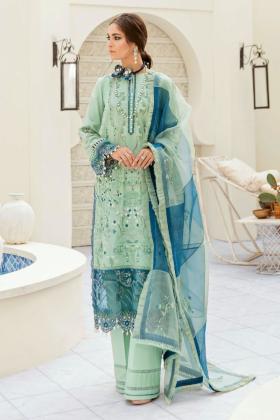 Afrozeh summer sonnet lawn exquisite mint 3 piece suit