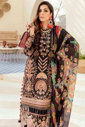 Afrozeh summer sonnet lawn majestic raven 3 piece suit in black