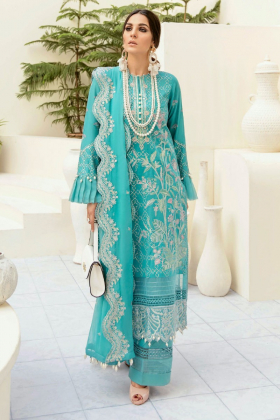 Afrozeh summer sonnet lawn soothing skies 3 piece suit in turquoise