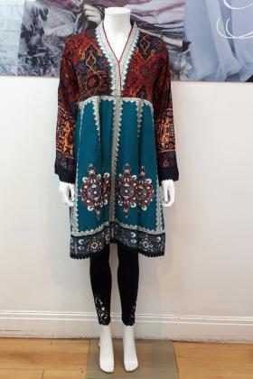 Teal cotton printed frock style kurti