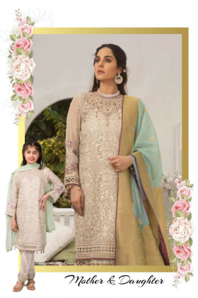 Glimmer blush 3 piece luxury embroidered suit in grey