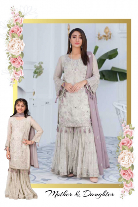Mossy 3 piece luxury embroidered garara suit in grey