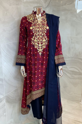 3 Piece casual lawn printed suit in maroon multi