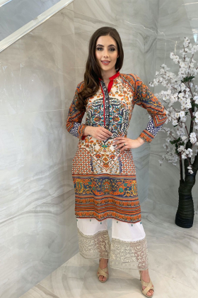 Digital printed lawn kurti in multi colour